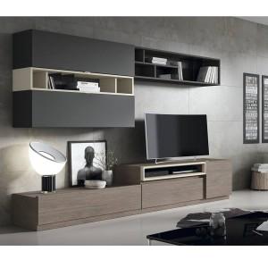 mueble de salon roble antracita piedra bavaria muebles