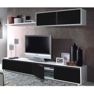 mueble salon comedor blanco brillo negro bavaria muebles